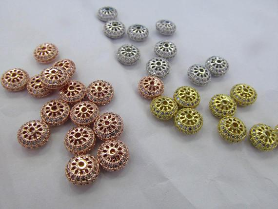 Free ship--12pcs Micro Pave Cubic Zirconia Rondelle Beads-gold CZ Pave Bead-jewelry findings,Spacer-Diamond Style Micro pave CZ 8-12mm
