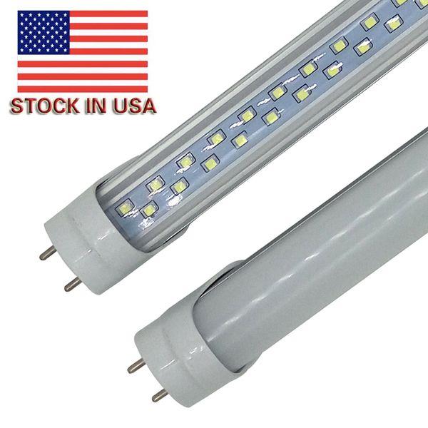 US en stock 28W 4ft T8 G13 Led Tubos Luces dobles filas Tubos fluorescentes Led 192pcs SMD 2835 AC 85-265V