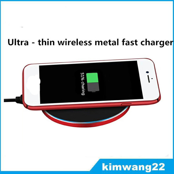 best selling Ultra-thin metal qi wireless faster charger for Samsung s8 plus for iphone x 8 and other brands of mobile phones