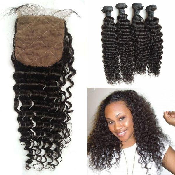 malaysian deep curly hair weaves closure 5pcs lot 100% human hair virgin 4x4 deep wave silk base closure with bundles G-EASY