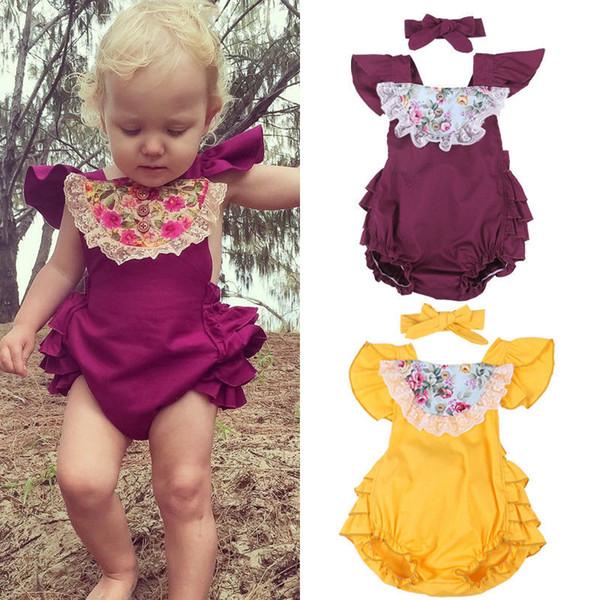 2Pcs Newborn Baby Girls Floral Romper Bodysuit Jumpsuit Playsuit Clothes Outfits