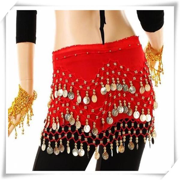 Belly Dance Falda bufanda de la cadera Wrap Belly Egypt Dance Hip falda Bufanda Wrap cinturón Traje Accesorios de moda DHL libre