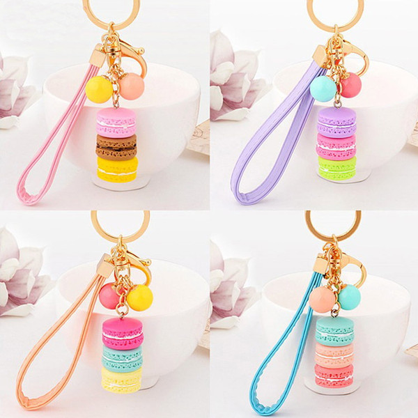 Macarons Cake Key Chain Hide Rope Pendant Keychains Car Keyrings Wedding Party Favor and Gifts DHL Free Shipping