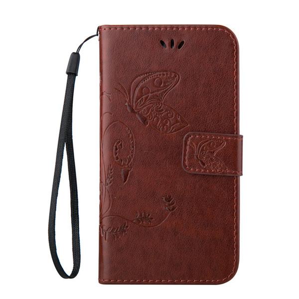 Piel para Apple iPhone 5G 5S 5SE 5C 6S 7 8 más Touch 5 6 X casos Mariposa Shell PU Cartera de cuero con ranura para tarjetas de crédito Cubierta de la cuerda