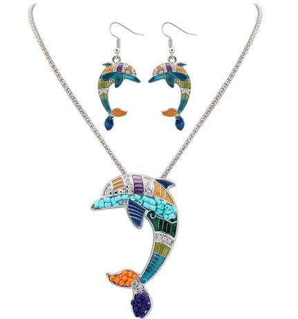 Fine Jewelry sets Explosion drop oil Dolphin Necklace set of European and American Necklace Earrings Jewelry jewelry accessories wholesale 2