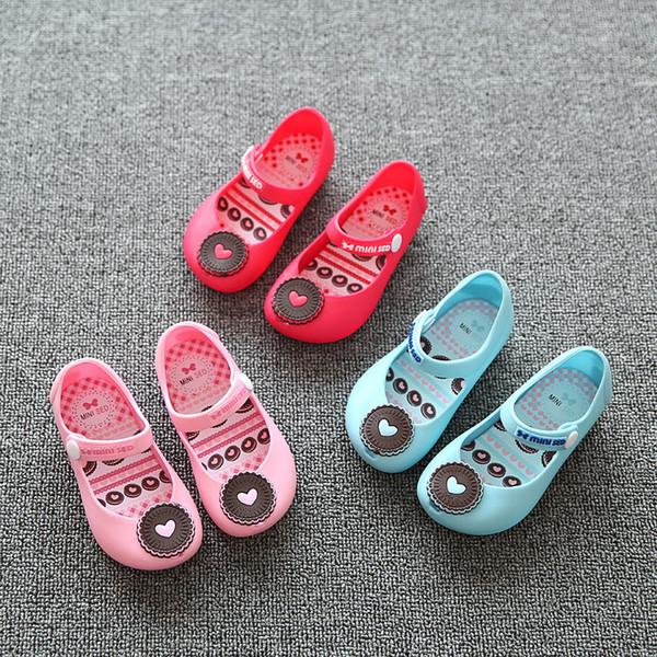 All'ingrosso-2017 New Jelly Plain Shoes For Baby Sandali estivi mini minised Little Children Toddler Kids Size Cat / Cookies