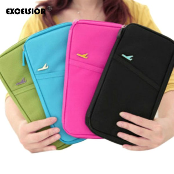 Wholesale- EXCELSIOR Fashion Travel Document Wallet Journey Fabric Passport ID Card Holder Case Cover Wallet Purse Organizer Free Shipping