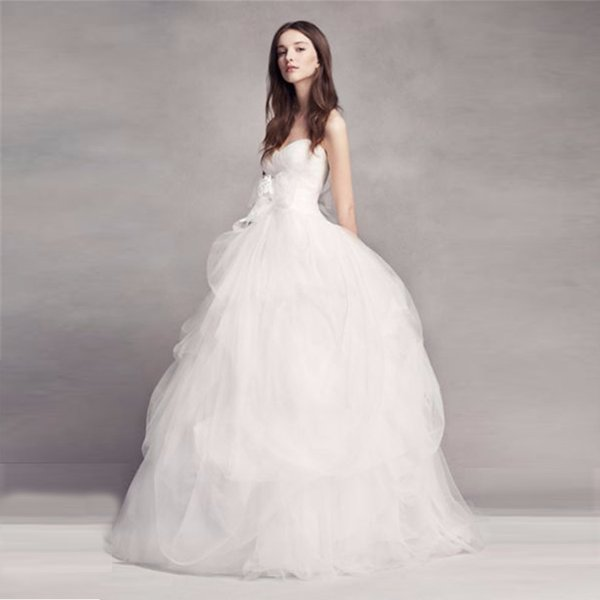 VW351339 New Coming Strapless Wedding Dresses Custom Made Ball Gown Hand-Draped Skirt Appliques Bow Tulle Wedding Dress Bridal Gowns
