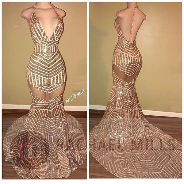 New Sexy Backless Gold Sequined Prom Dresses Halter Neck Sleeveless Long Mermaid Occasion Evening Gowns Cheap