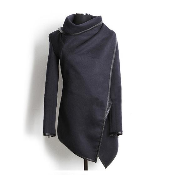 16 Herbst und Winter Frauen Wolljacken ungleichmäßige Farbe PU-Leder lange Jacken drücken Größe Bomber Jacke Frauen Basic Coats