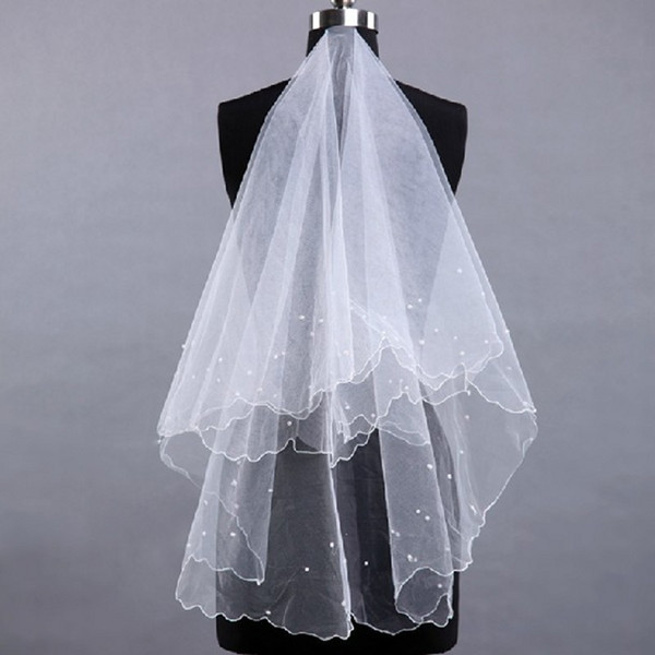Free Shipping One Layer Lace Tulle 1.5 Meters Short Bridal Veils Cheap Hot Sale White Ivory Pearls Short Wedding Veil High Quality