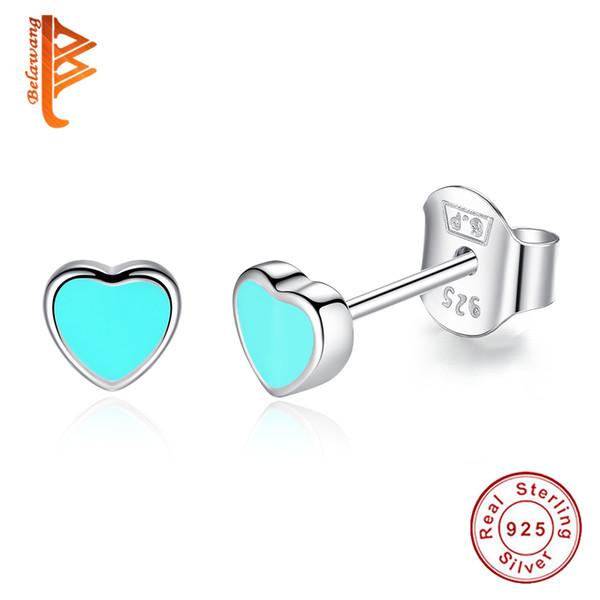 BELAWANG Authentische 100% 925 Sterling Silber Herzform Ohrstecker für Frauen Fashion Echte Schmuck BluePink Emaille Party Geschenk