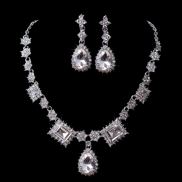 Beauty Silver Flower Bridal Necklace Earring Suits 2 pieces Jewelry Suits Wedding Bridal Jewelry P419012