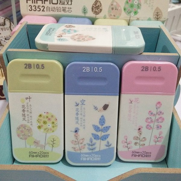 Wholesale- 4 pcs/lot 0.5mm Cute Kawaii Flower Plastic 2B Pen Refills Pencil Leads For Kids Gift Korean Stationery Free Shipping 3036