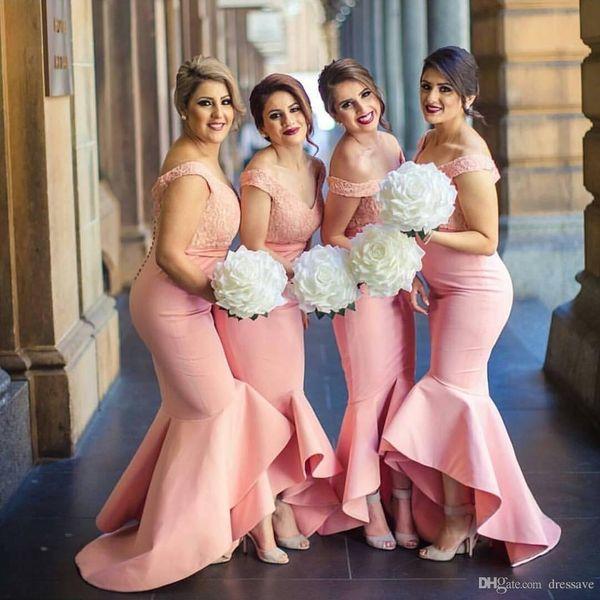 New Sweetheart Off Spalle Mermaid Prom Dresses 2018 Backless Lace Corpetto High Low Dubai Ruffle Skirt Abiti da sposa per gli ospiti