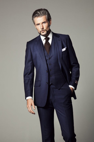 Dark Navy Pinstripe Wedding Tuxedos Slim Fit Suits For Men Cheap Groom Suit Three Pieces Prom Formal Suits With Jacket Vest And Pants