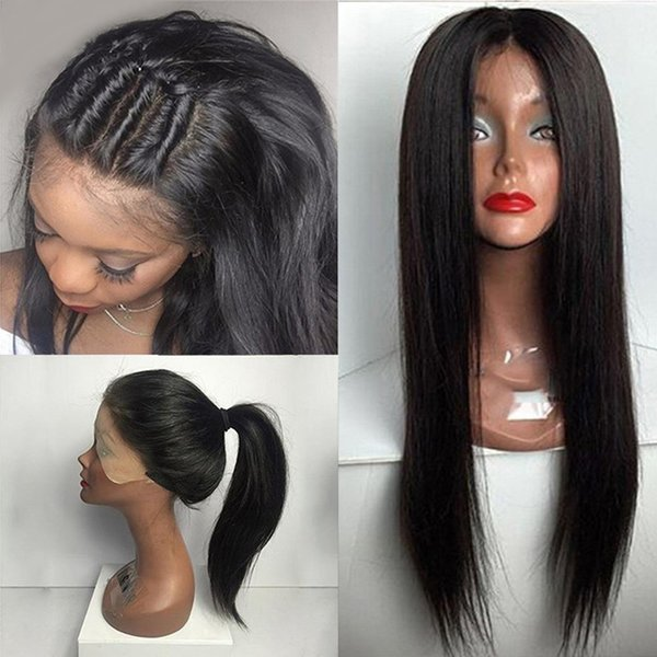 Full Lace Human Hair Wigs 150% Density Silky Straight 10-26 Inches Natural Black Bleached Knots Brazilian Virgin Hair Wigs
