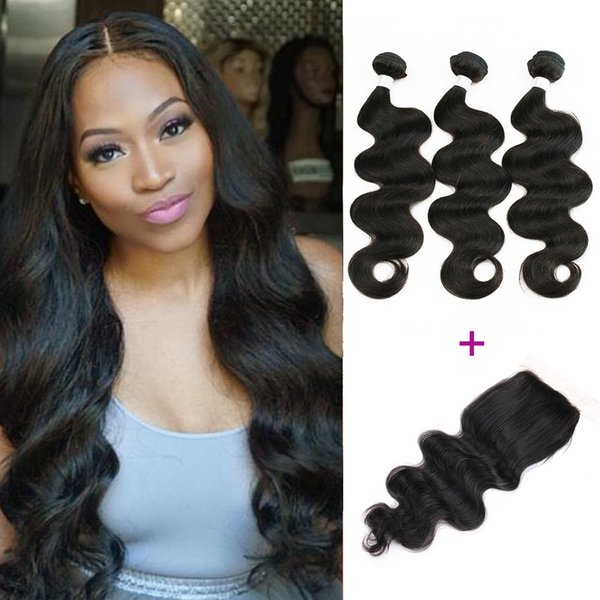 High Quality 9A Remy Hair 3 Bundles with Lace Closure Raw Virgin Indian Body Wave Hair Brazilian Peruvian Unprocessed Human Hair Extensions