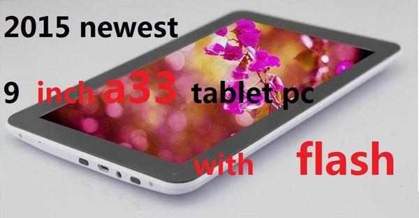Quad Core 9 inch A33 Tablet PC with Bluetooth flash 1GB RAM 8GB ROM Allwinner A33 Andriod 4.4 1.5Ghz US02