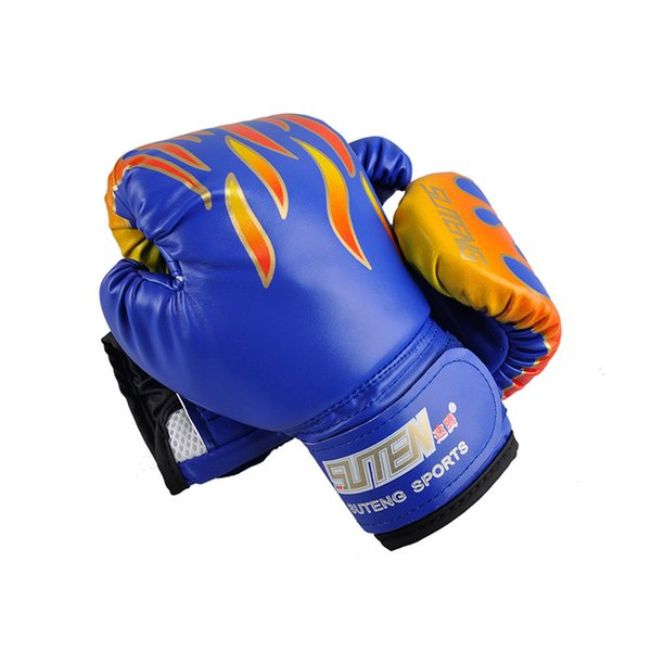 Children Flame Mesh Palm Boxing Gloves Professional Sanda Boxing Training Glove Breathable PU Leather MMA Flame Gloves Free Shipping