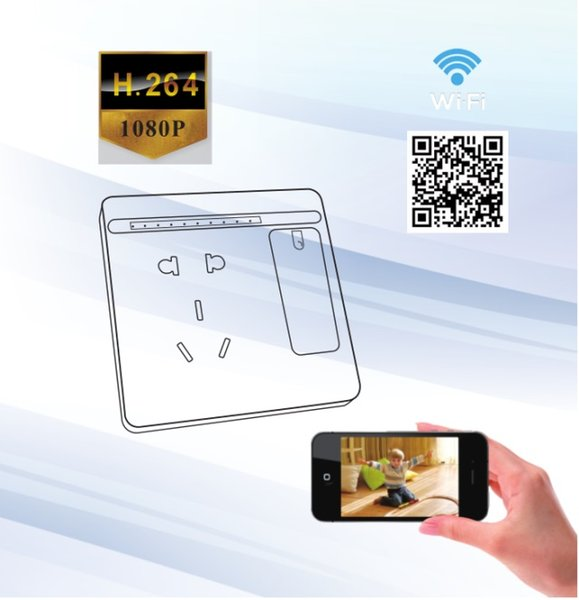 Wifi duvar Soket Kamera 1080 P H.264 Formatı P2P mini IP Kamera Tüm HD Mini Soket DVR kablosuz gözetim Ev Güvenlik Ağ kamera