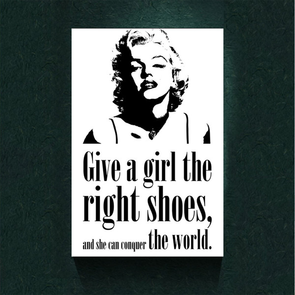 Marilyn monroe quote girl shoes home decor canvas print modern black and white canvas