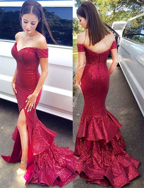 Off-the-Shoulder Sweep Train Red Sequined Bridesmaid Dress with Ruffles Skirt Mermaid Wedding Party Dress Sequin Evening Dress