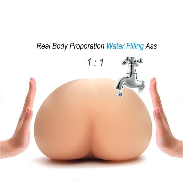 Iniezione di riempimento di acqua calda Silicone gonfiabile Realistico Figa reale temperatura corporea Masturbatore maschio Grande culo giocattolo del sesso per gli uomini