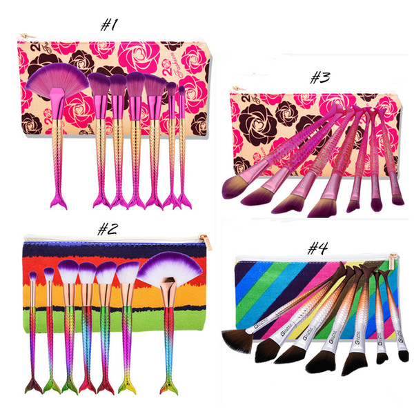 7pcs Mermaid Makeup Brushes Sets per Powder Foundation Contour Eyeshadow Brush Cosmetics Multipurpose Rainbow Make up Kit di spazzole con borsa