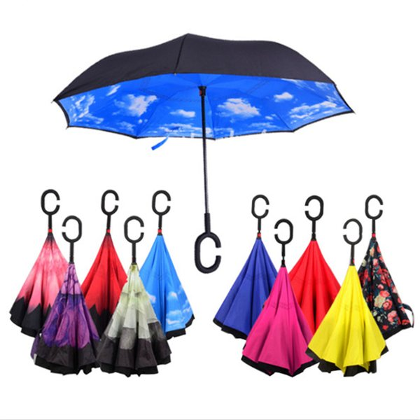 Windproof Foldable Reverse Inverted Rain Umbrella Double Layer Auto Support Rain Protection Inside Out C-Hook Car Handsfree