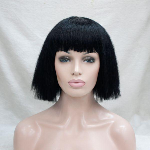 2017 nova moda de moda de moda bob peruca yaki reta jato preto curto partido cosplay peruca de cabelo sintético frete grátis