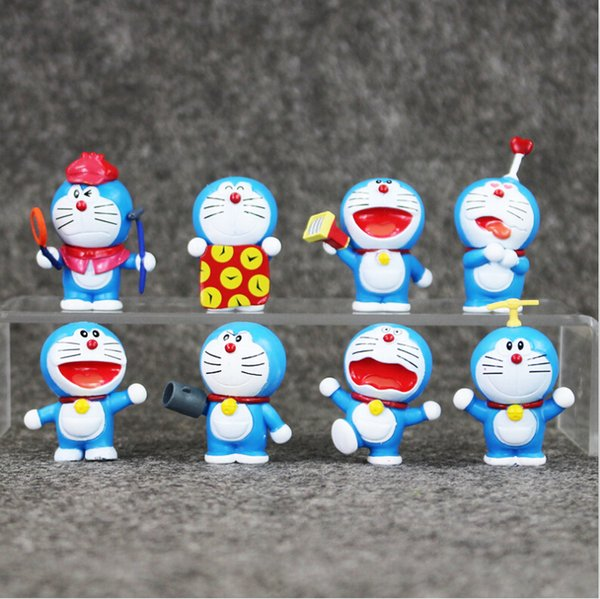 EMS 8pcs/set Anime Doraemon PVC Action Figure Collectable Model Toy for kids gift free shipping