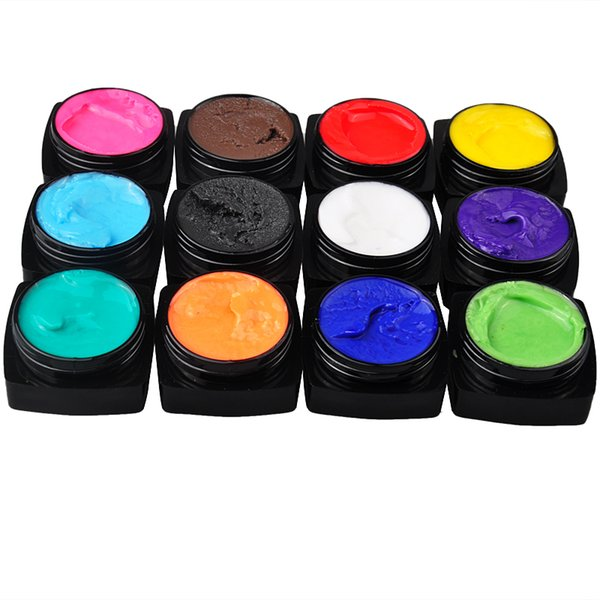 Wholesale-12pcs/set 3D UV Sculpture Gel Colour Modelling Nail Art Tips Creative Manicure Decor Tools 5g Free Shipping