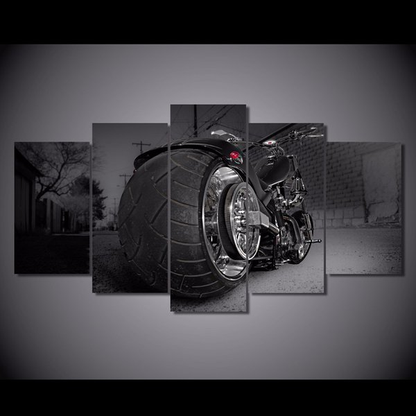 5 Pcs/Set Framed Printed motorcycle bike chopper sports style Painting Canvas Print room decor print poster picture canvas art