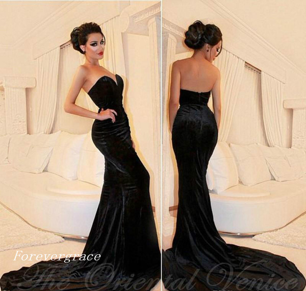 2017 Newest Arabic Sexy Sweetheart Prom Dress Black Velvet Formal Holidays Wear Graduation Evening Party Gown Custom Made Plus Size