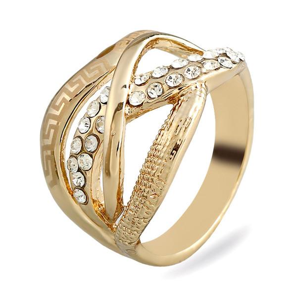 2017 nueva Moda de La Vendimia Tallada Ahueca Hacia Fuera la originalidad de Aleación de Oro anillos de los hombres grandes gemas de Cristal Anillos de Mosaico para mujeres Joyería de la boda al por mayor