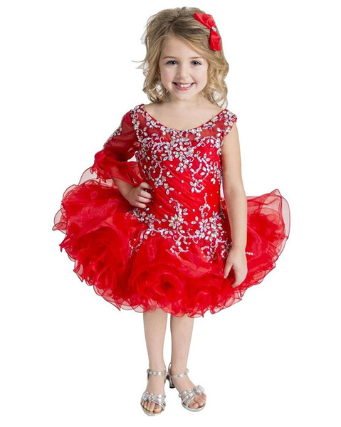 Red Kids Special Occsion Pageant Cupcake Robes Infantile Tutu Robes De Bal Toddler Bébé Filles Une Épaule Fête D'anniversaire Pageant Dress