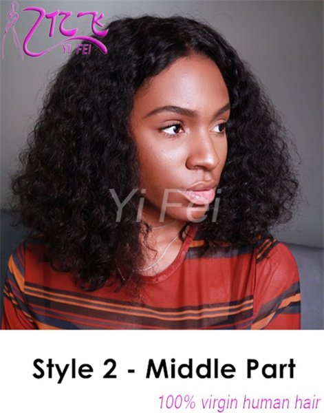 Full Lace Human Hair Wigs With Baby Hair Middle Part Brazilian Remy Hair Curly Wig Natural Color