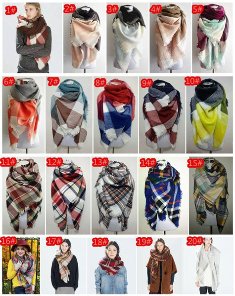 best selling Factory Price Wholesale Blanket Oversized Tartan Scarf Wrap Shawl Plaid Cozy Checked Pashmina Women Hot Many Designs Mix DHL Free
