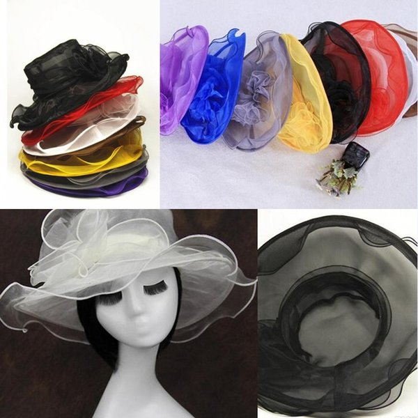 top quality 2017 new arrival womens Organza Hat Kentucky Derby Wedding Church Party Floral Hat wide brim sun summer hats for women 8 colors
