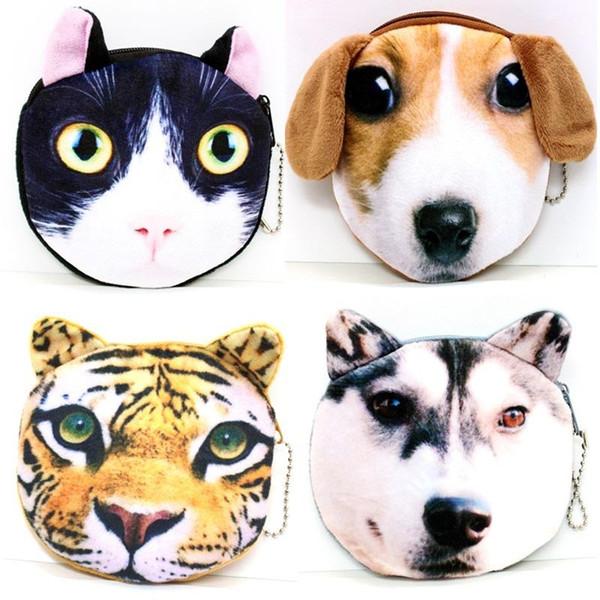 Kindertaschen Geldbörsen Plüsch Brieftasche Damen 3D-Druck Katzen Hunde Tier großes Gesicht ändern Tasche niedlich kleine Geld Taschen Reißverschlusstasche für w