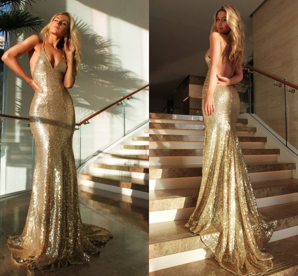Sexy Backless Mermaid Evening Dresses V Neck Spaghetti Straps Sequins Black Red Gold Formal Evening Gowns Sparkly Prom Dresses Sweep Train