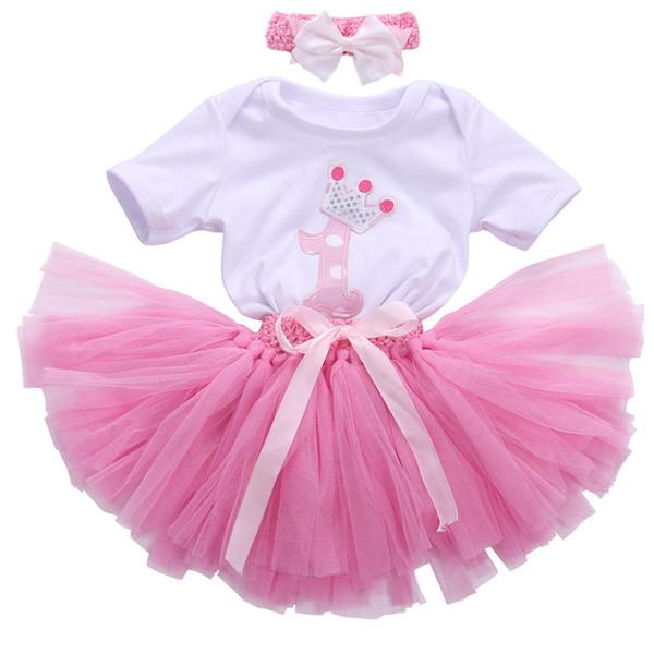 Venta al por mayor- 3 piezas nueva moda linda del bebé de los cabritos de la muchacha del bebé + arco diadema + falda del tutú rosado traje de la corona de cumpleaños 0-24M