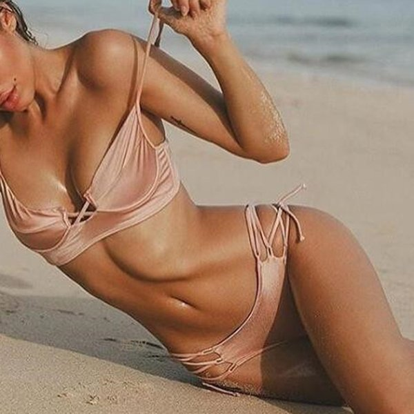 2017 Sexy Pink Sling Lace Cut Out Wrap Backless Triangle Bikinis Sets Swimwear For Women Swimsuit Beach Wear Bathing Suit S M L