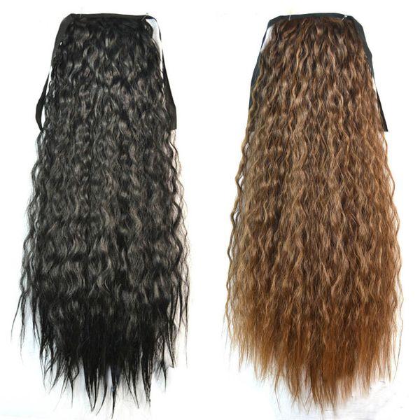 Оптово-модные женские хвостики наращивание волос черный коричневый блондин длинный вьющийся хвост синтетические волосы конский хвост наращивание волнистые волосы