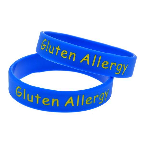 1 pc glúten alergia pulseira de silicone para crianças carregam esta mensagem como um lembrete no dia a dia por usar esta pulseira