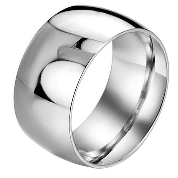 Wholesale MenS 12mm Classic Silver Titanium Stainless Steel