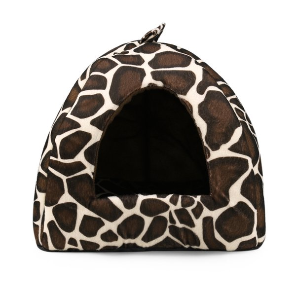2017 New Foldable Soft Warm Dog Cat House Bed Nest for Puppies Dog House Kennel Accessoies Winter Leopard Dog Bed Cave 4 Size