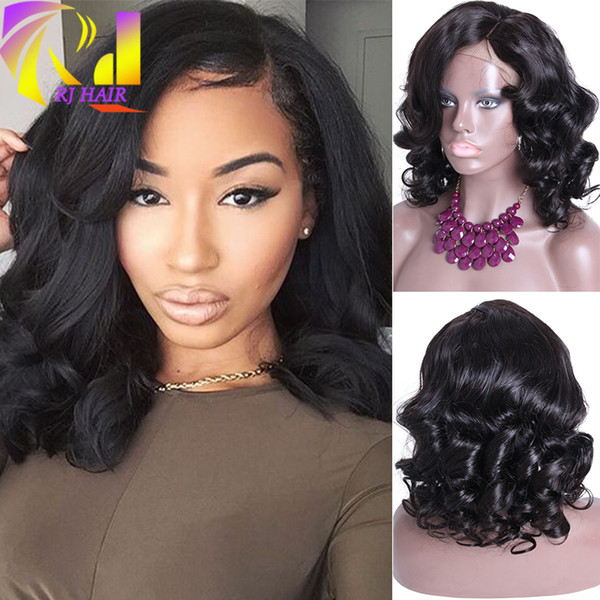 Medium Length Loose Wave Malaysian Virgin Human Hair Full Lace Wigs For Black Women Glueless Lace Front Wig New Cap With Baby Hair