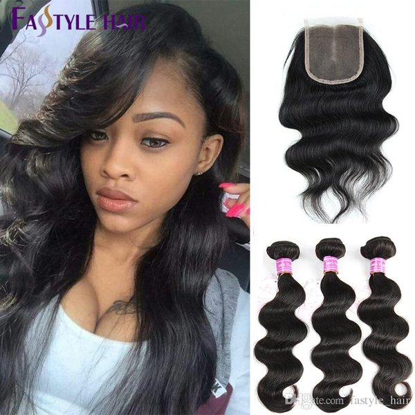 Fastyle Peruvian Body Wave 3 Extension Bundles With Lace Closure UNPROCESSED Brazilian Malaysian Indian Virgin Human Hair Wefts Top Quality
